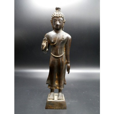 Statue bouddha birmanie : bouddha en abhaya mudra marchant milieu XXème
