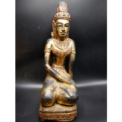Statue thailandaise en prière milieu XXème
