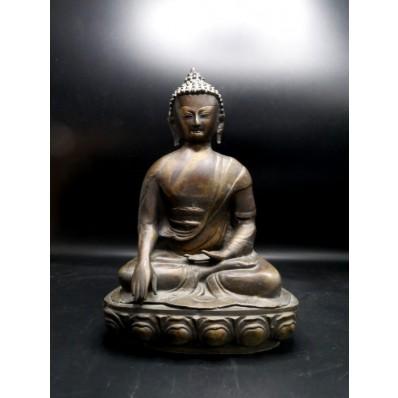 Statue grand bouddha Inde en bhumisparca mudra milieu XXème