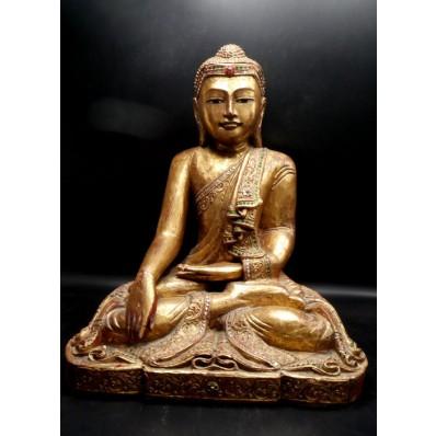 Statue grand bouddha birman Bhûmishparsha-mudrâ mil. XXème