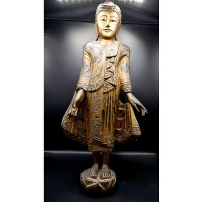 Statue grand bouddha birman marchant varada mudra milieu XXème