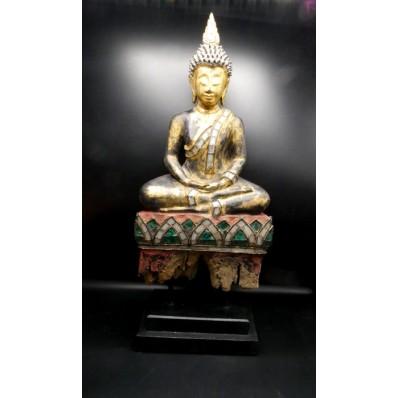 Statue grand bouddha birman Dhyana Mudra milieu XXème