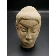 Statue bouddha birmanie : tête de bouddha en pierre XIXème