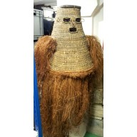 Très grand masque Jipae en rafia