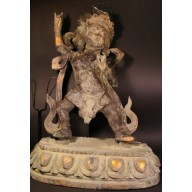Statue tibet rare grand  Mahakala milieu XXème