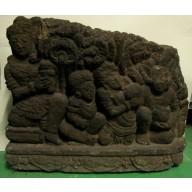 Statue indienne  : Grande fresque indienne en pierre XIXème