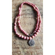 Bracelet Mala tibétain en pierre fleur de Lotus