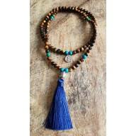 Bracelet collier mala en oeil de tigre et turquoise bouddha