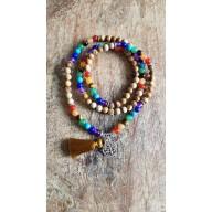 Bracelet collier mala en agathe avec charme arbre de vie