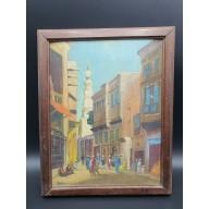 Peinture sur bois orientale du Caire deb. mil. XXème