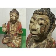 Grand bouddha polychrome en bois balinais mil. XXème