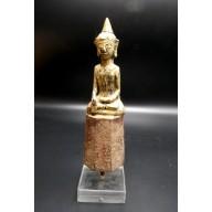 Statue bouddha laos d'offrande en bhumisparca mudra de temple XIXème