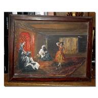 Peinture sur bois orientale de Sousse deb. mil. XXème