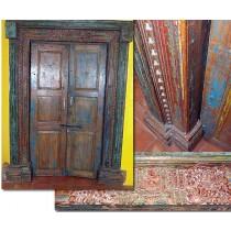 Double porte polychrome indienne du XVIIIème